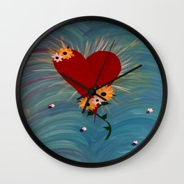 Heart with Flowers Wall Clock