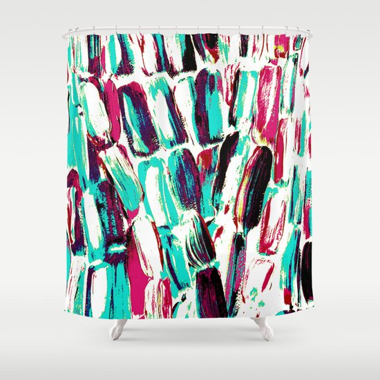 Pink And Teal On White Sugarcane Shower Curtain By