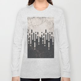 Marble and Geometric Diamond Drips, in Charcoal Grey and Light Beige Long Sleeve T-shirt