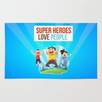 super heroes Area & Throw Rugs featuring Super Heroes Love People by youngmindz