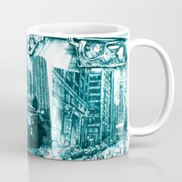 chicago map Mugs featuring chicago by Bekim ART