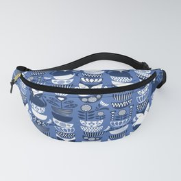 Swedish folk cats I // Indigo blue background Fanny Pack