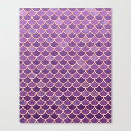 Mermaid Scales Pattern in Purple and Rose Gold Canvas Print