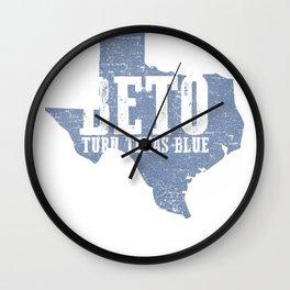 BETO Turn Texas Blue Distressed Vintage Wall Clock