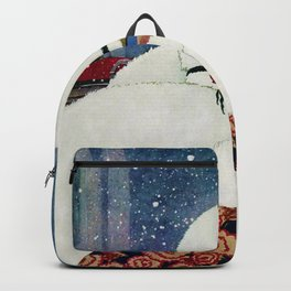 Woman in a New York Snow haute couture art deco portrait Backpack