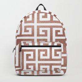 Rose Gold Foil Greek Key Backpack
