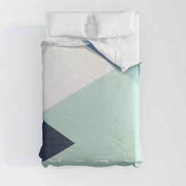 Geometrics - seafoam & blue concrete Comforters