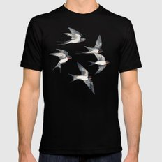 Blue Sky Swallow Flight Black Mens Fitted Tee 2X-LARGE