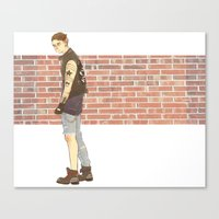 bucky barnes Canvas Prints featuring Bucky Barnes punk by maria euphemia