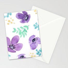 Meraki Purple Posies Stationery Cards