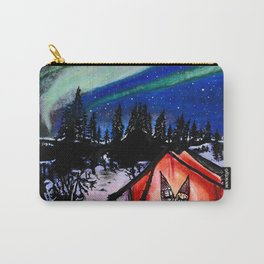 'CAMP BOREALIS' Northern Lights Original Art Drawing - Camping Wall Art Carry-All Pouch