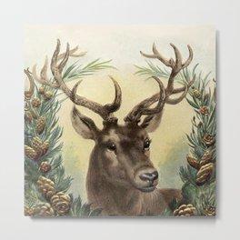 Retro Deer Metal Print