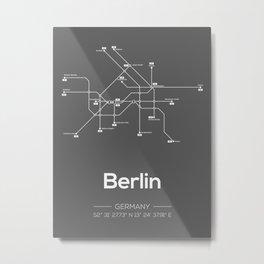 Berlin Subway Map Grey Metal Print