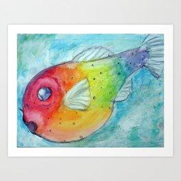 Rainbow Pufferfish Art Print