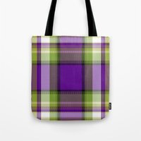 plaid Tote Bags featuring Plaid by Kevin Rogerson