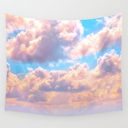 Beautiful Pink Cotton Candy Clouds Against Baby Blue Sky Fairytale Magical Sky Wandbehang
