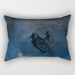 Two little crows blue sky dark night Rectangular Pillow