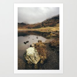 Low cloud and reflections on Blea Tarn. Cumbria, UK. Art Print