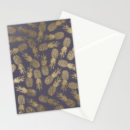Elegant mauve purple gold tropical pineapple fruit Stationery Cards