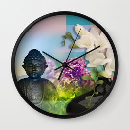 Colorful Buddha & Floral Collage Wall Clock