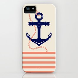 AFE Navy Anchor and Chain iPhone Case