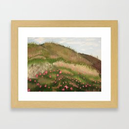 Grassy Hills with Flowers Framed Art Print