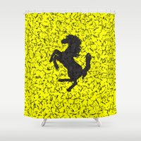 ferrari Shower Curtains featuring Yellow Homage To Ferrari by Giovanni Fontana