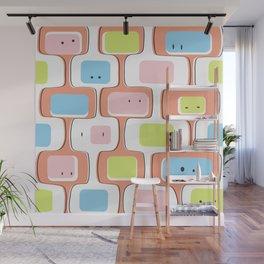 Retro geometric faces Wall Mural
