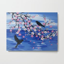 blue sea with cherry blossom on hanging branch with a pair of birds romantic japanese style art Metal Print