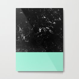 Mint Meets Black Marble #1 #decor #art #society6 Metal Print