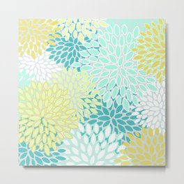 Floral Prints, Teal, Turquoise and Yellow, Design Prints Metal Print