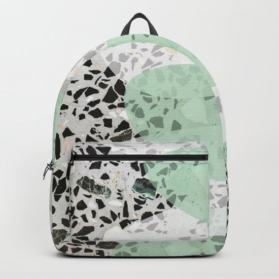 Terrazzo Abstract Design Mint Green & White Backpack