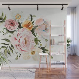 Loose Peonies & Poppies Floral Bouquet Wall Mural