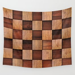 Wooden squares Wall Tapestry