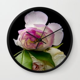 white and pink roses Wall Clock