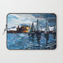 Yacht Sailing Middle Sea Race in Malta Grand Harbour - start of the regatta Laptop Sleeve