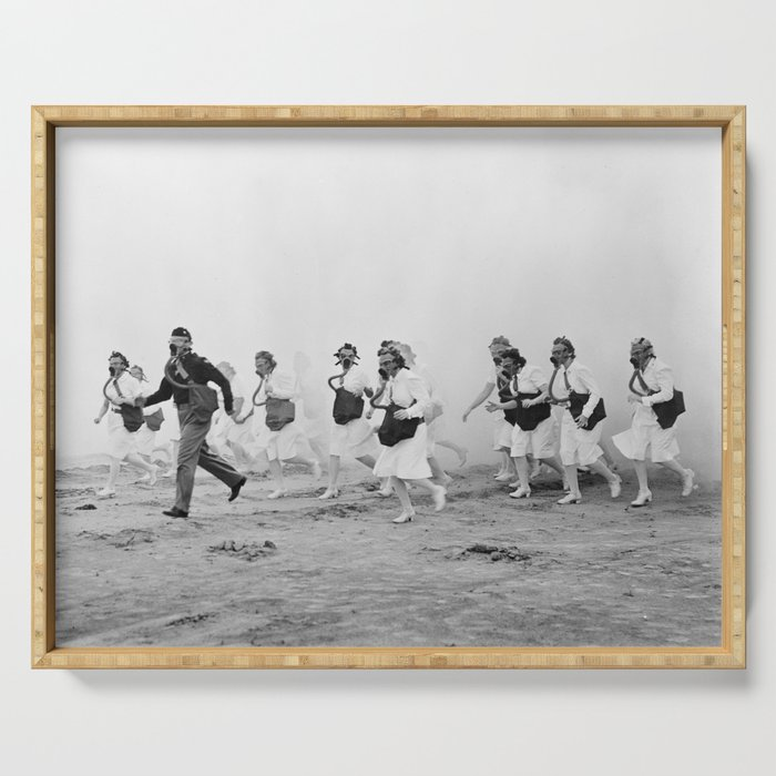 Nurses in Gas Masks - Vintage Military Photo Serving Tray