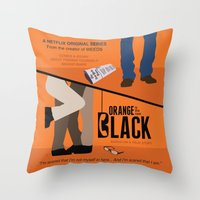oitnb Throw Pillows featuring OITNB by MLauxDesign
