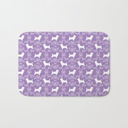 Cairn Terrier silhouette florals purple and white minimal dog breed basic dog pattern Bath Mat