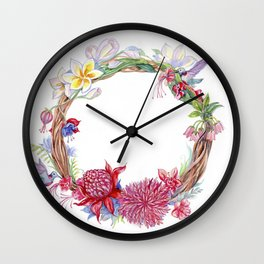 Watercolor wreath of exotic flowers. Wall Clock