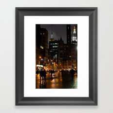 Rainy Night In Union Square Framed Art Print