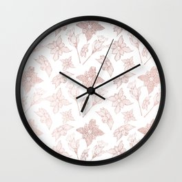Blush pink rose gold white elegant hand painted orchid floral Wall Clock