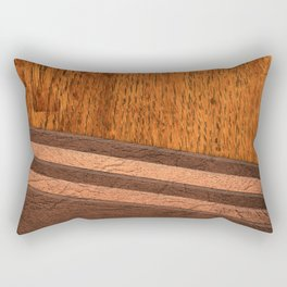 Wood and Leather Rectangular Pillow