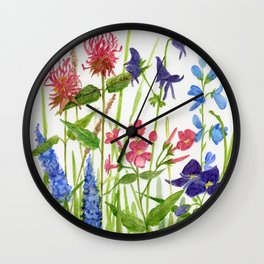 Garden Flowers Botanical Floral Watercolor on Paper Wall Clock