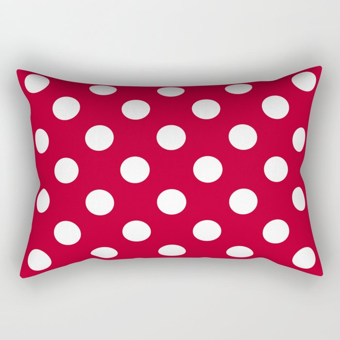Red and Polka White Dots Rectangular Pillow