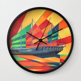 Sail Away Junk Pleasure Boat Wall Clock