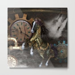 Steampunk, beautiful steampunk horse Metal Print