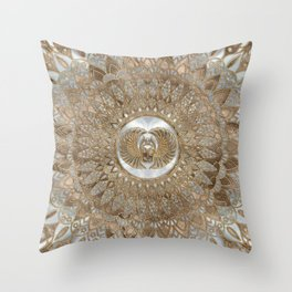 Egyptian Scarab Beetle Pastel Golds Throw Pillow