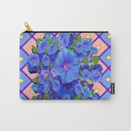 Blue Diamond Patterns Morning Glories Art Carry-All Pouch