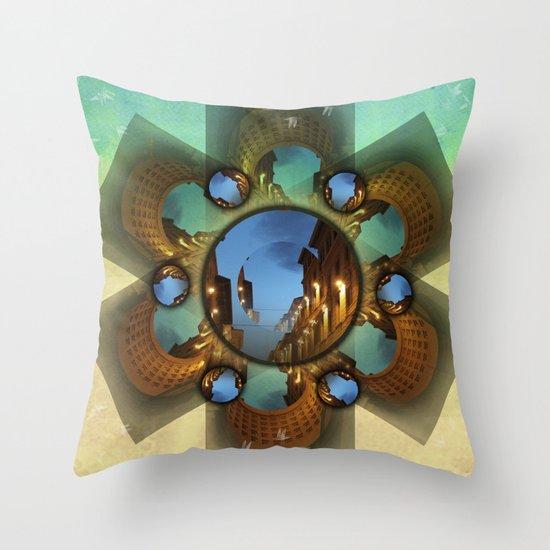 Emerald orbit Throw Pillow